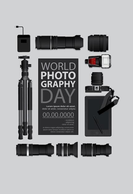 Modelo do dia mundial da fotografia Vetor grátis