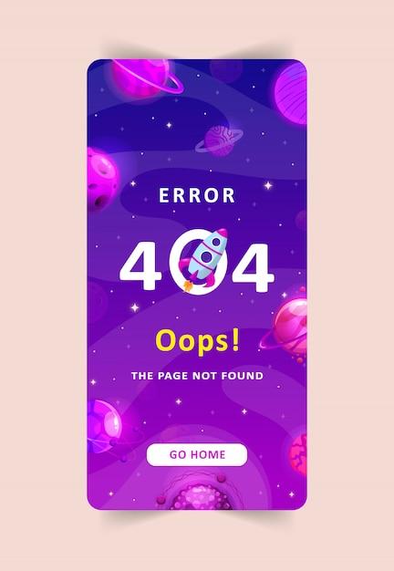Modelo do erro 404, página não encontrada. Vetor Premium