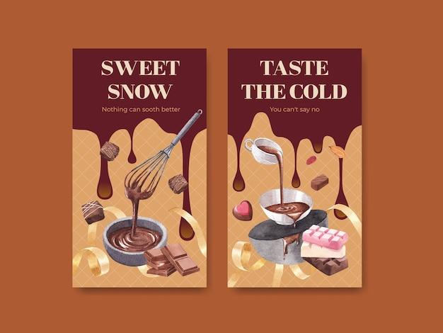 Modelo do instagram com design de conceito de inverno de chocolate para marketing online e ilustração em aquarela de mídia social Vetor grátis