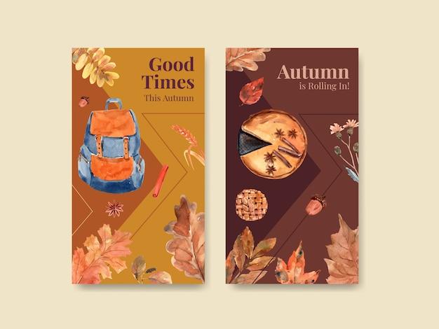 Modelo do instagram com design de conceito diário de outono para marketing digital e aquarela de mídia social Vetor grátis