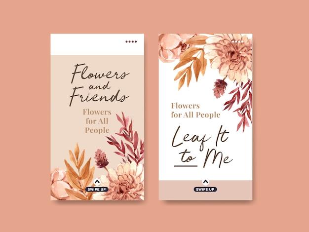 Modelo do instagram com projeto de conceito da flor do outono para meios sociais e ilustração digital da aquarela do marketing. Vetor grátis