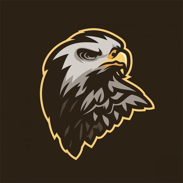 Modelo do logotipo da mascote dos jogos do esport do falcão da águia Vetor Premium