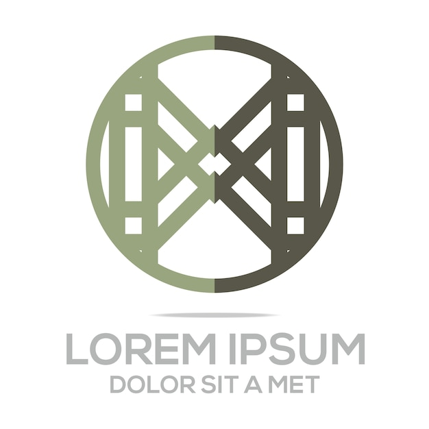 Modelo do logotipo do círculo da carta x Vetor Premium