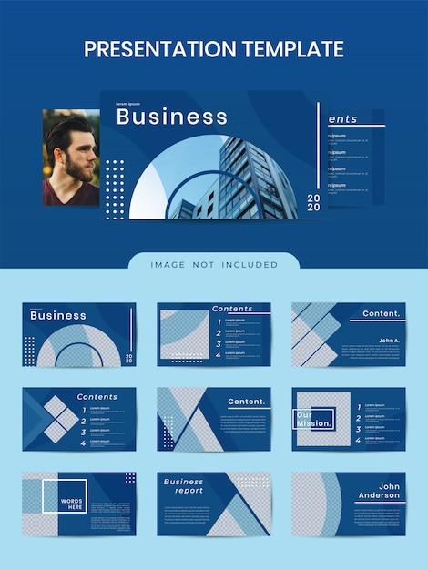Modelo do powerpoint - negócio geométrico com cor azul clássica Vetor Premium