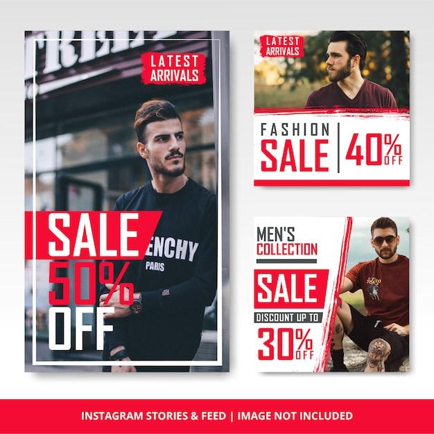 Modelo e banner de venda de moda masculina e instagram do instagram Vetor Premium