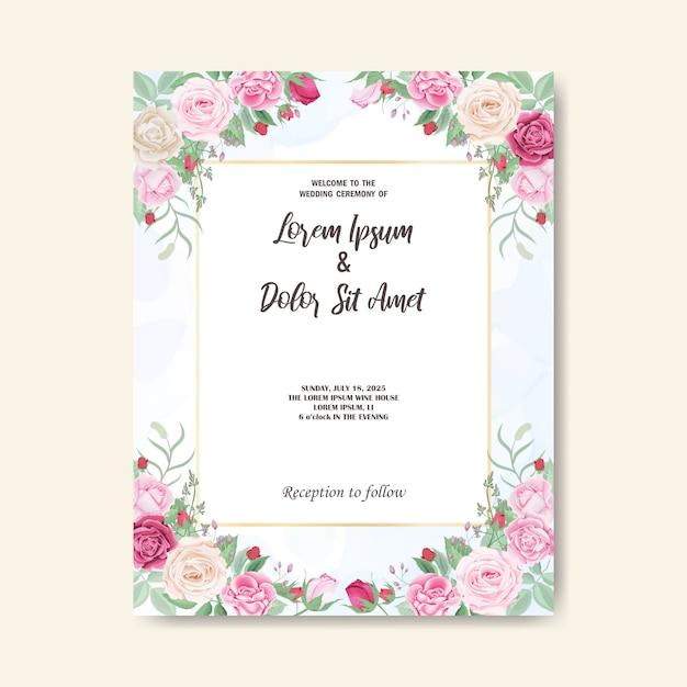 Modelo e cartão de convite de casamento floral lindo Vetor Premium
