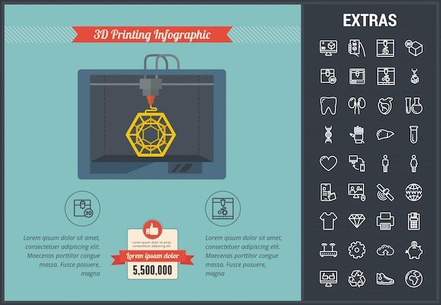 Modelo e elementos de impressão 3d infográfico Vetor Premium