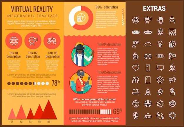 Modelo e elementos de realidade virtual infográfico Vetor Premium