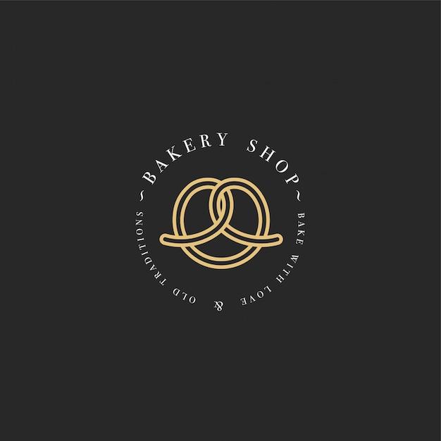 Modelo e emblema - pretzel cozer ícone para padaria. doceria. Vetor Premium