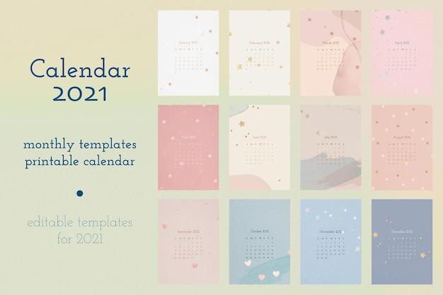Modelo editável do calendário 2021 com conjunto de fundo aquarela abstrato Vetor grátis