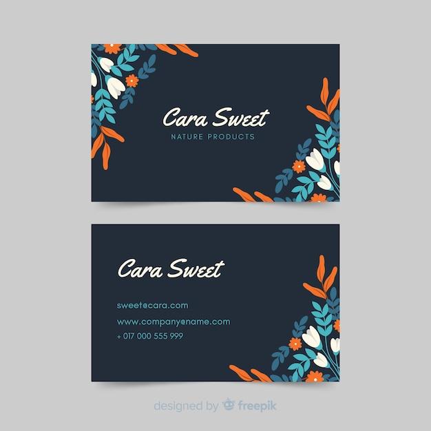Modelo elegante cartão de visita com design floral Vetor grátis