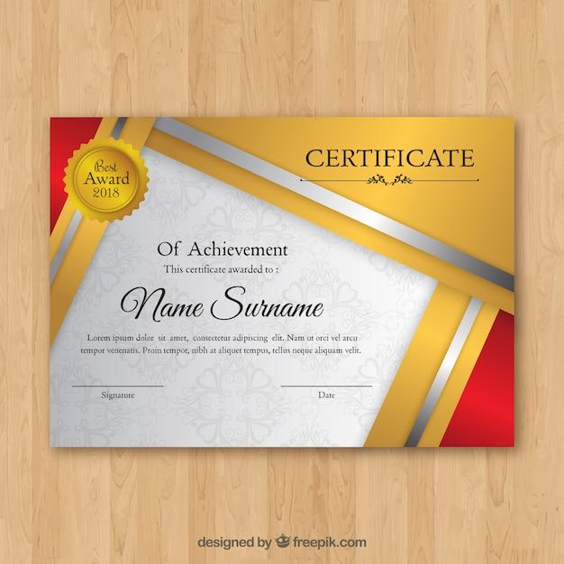 Modelo elegante certificado de ouro Vetor grátis