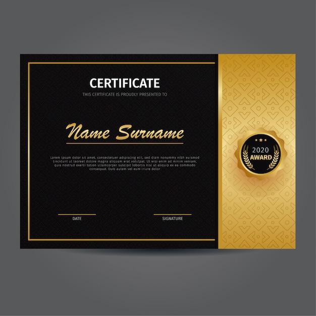 Modelo elegante de certificado de ouro Vetor Premium