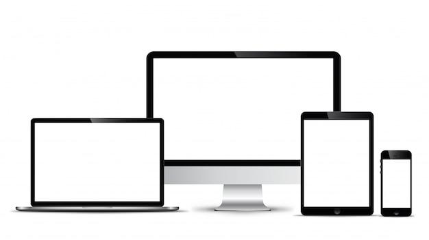 Modelo eletrônico tecnologia moderna, telefones inteligentes, tablets, computadores e notebooks. Vetor Premium