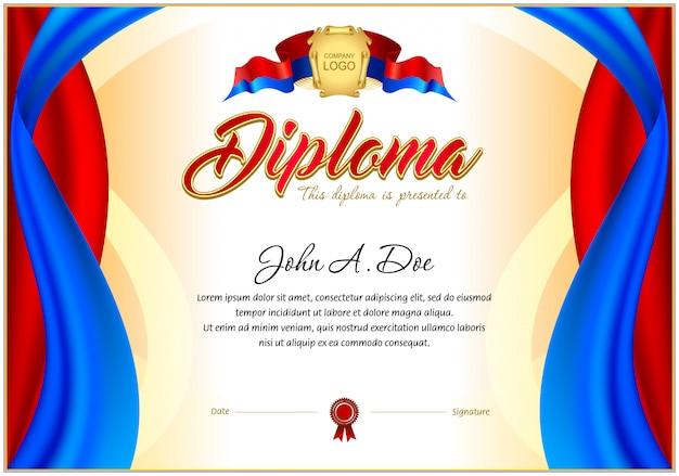 Modelo em branco do diploma. Vetor Premium