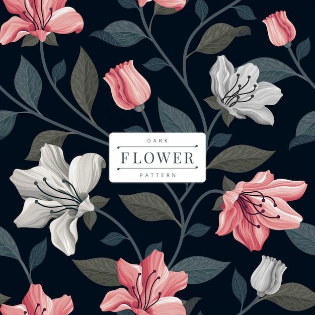 Modelo escuro padrão de flor vintage Vetor Premium
