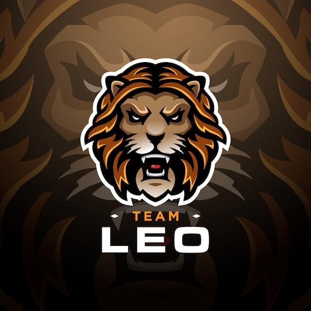 Modelo esport de logotipo de jogos de cabeça de leão Vetor Premium
