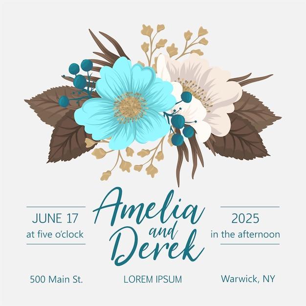 Modelo floral do casamento floral verde menta cartão Vetor Premium