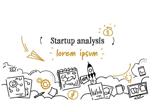 Modelo horizontal de análise de inicialização de negócios financeiros Vetor Premium