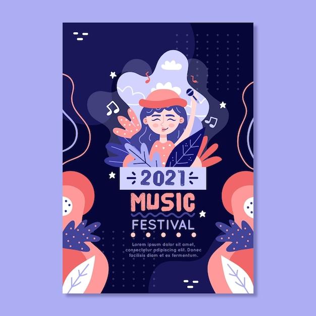 Modelo ilustrado de cartaz do festival de música 2021 Vetor grátis
