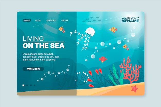 Modelo ilustrado de pôster de aventura subaquática Vetor Premium