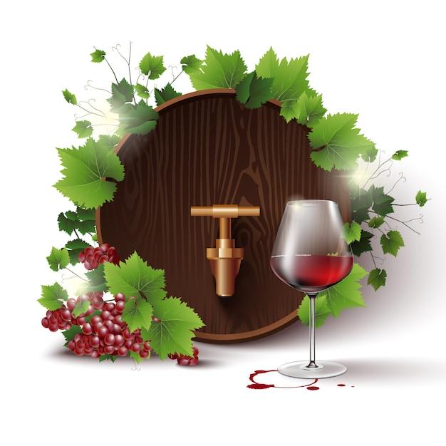 Modelo isolado com barril de vinho Vetor Premium