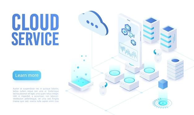Modelo isométrico de página de destino de luz suave de serviço em nuvem. programador sincronizando informações pessoais. armazenamento de neon de banco de dados, criptografia de dados e proteção. página inicial do site de computação em nuvem Vetor Premium