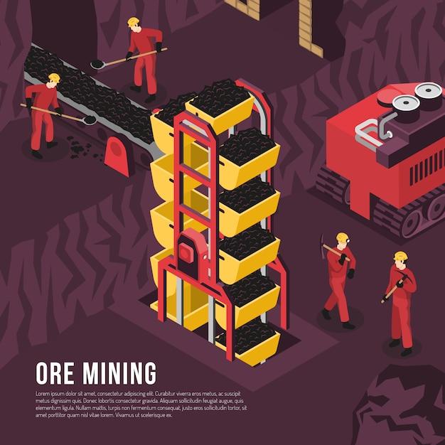 Modelo isométrico de processo de mineração de minério Vetor grátis