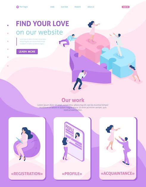 Modelo isométrico de site página inicial, amor, reunião, pessoas conectam partes de um grande coração Vetor Premium