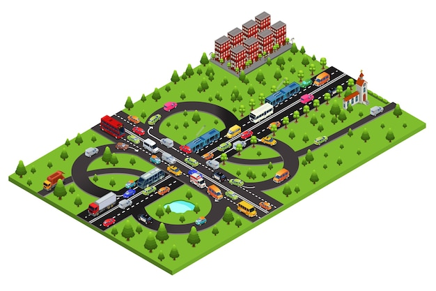 Modelo isométrico de tráfego rodoviário Vetor grátis