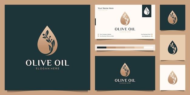 Modelo luxuoso de árvore de ramo de flor de azeite, logotipo feminino de gota de óleo e cartão de visita Vetor Premium