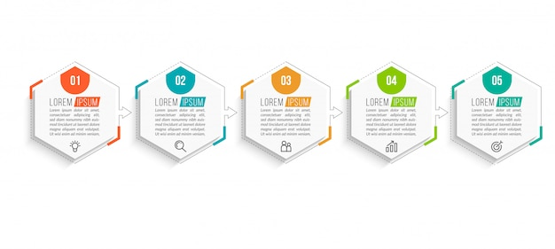 Modelo mínimo de infográficos de negócios Vetor Premium