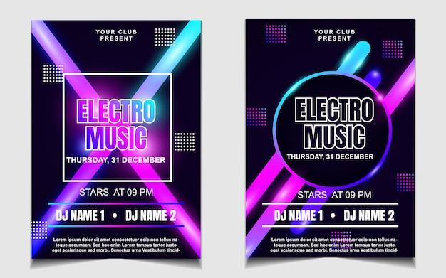 Modelo mínimo de pôster para festival de música electro com luz colorida Vetor Premium