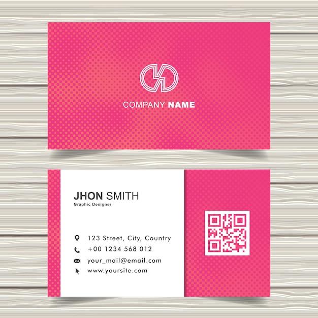 Modelo moderno de cartões de visita de meio-tom rosa Vetor Premium