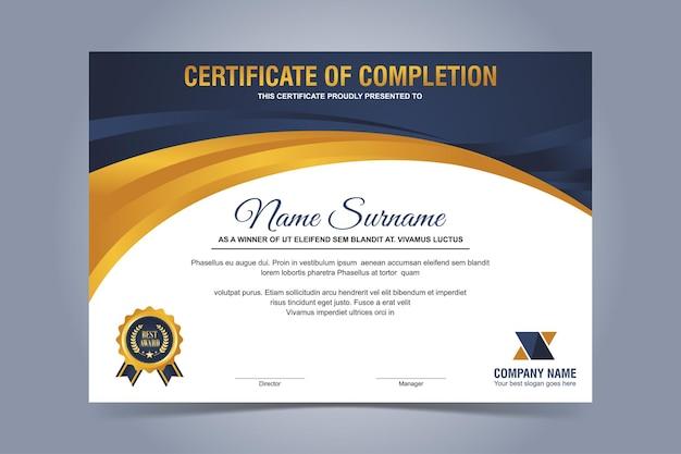 Modelo moderno de certificado azul e dourado Vetor Premium