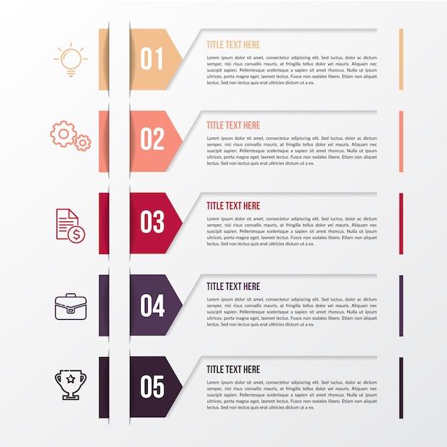 Modelo moderno de infográfico de cor Vetor Premium