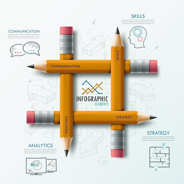 Modelo moderno infográfico Vetor Premium