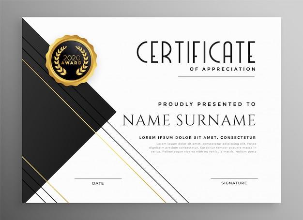 Modelo moderno preto branco e ouro certificado Vetor grátis