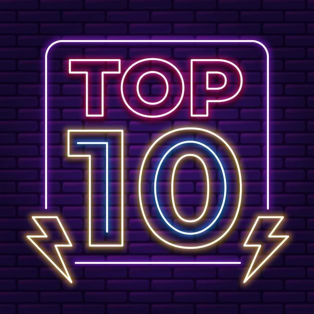 Modelo neon top 10 Vetor grátis
