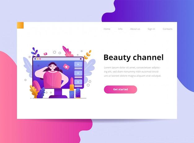 Modelo para blogueiro de beleza da página de destino Vetor Premium