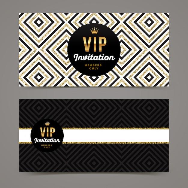 Modelo para convite vip com fundo geométrico glitter dourados. Vetor Premium