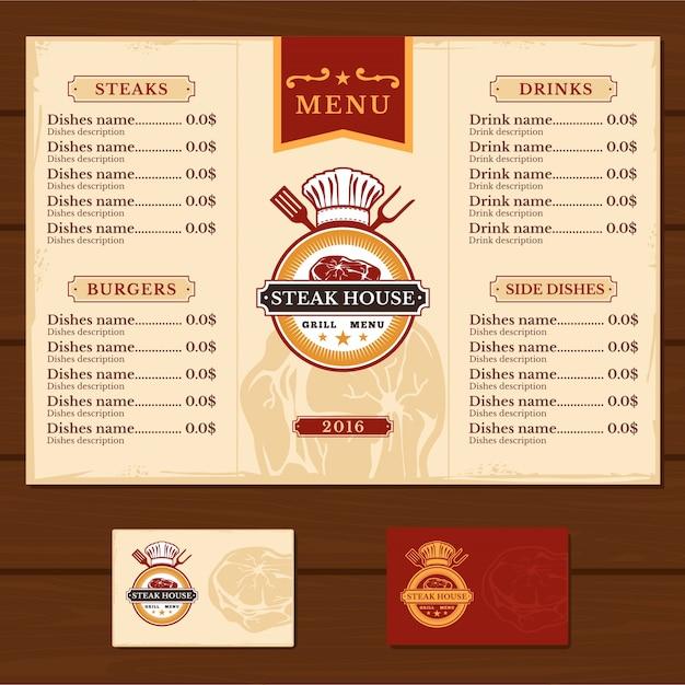 Modelo para o menu do restaurante Vetor grátis