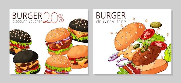 Modelo para publicidade de hambúrgueres Vetor Premium