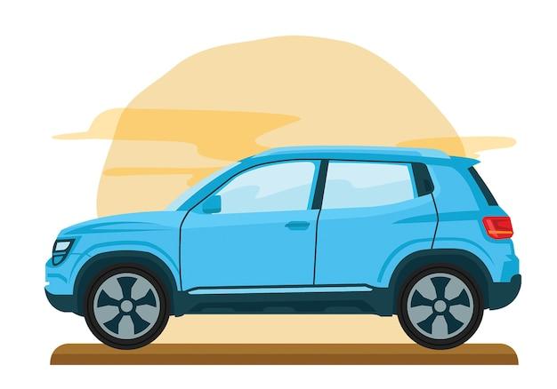 Modelo plana de vetor de família van mini carro Vetor Premium