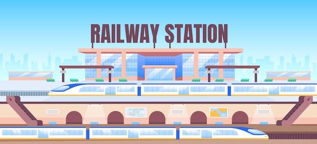 Modelo plano de banner da estação ferroviária Vetor Premium