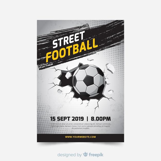 Modelo plano de cartaz de futebol Vetor grátis