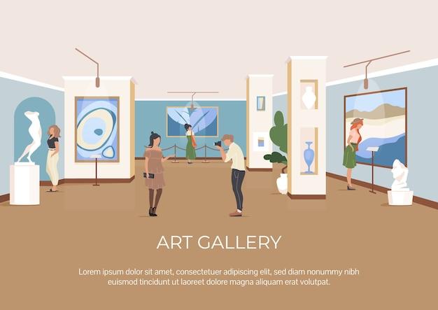 Modelo plano de cartaz de galeria de arte. as pessoas visitam o museu cultural. folheto, projeto de conceito de uma página de livreto com personagens de desenhos animados. folheto de exposição de arte contemporânea, folheto Vetor Premium