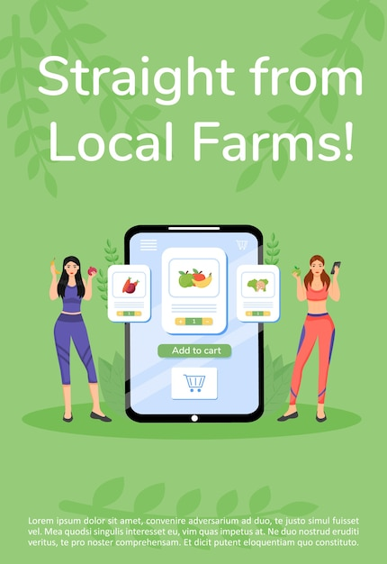 Modelo plano de cartaz de pedidos on-line de produtos agrícolas. vegetais e frutas comprando brochura de aplicativo móvel, design de conceito de livreto de uma página com personagens de desenhos animados. folheto de verduras frescas, folheto Vetor Premium