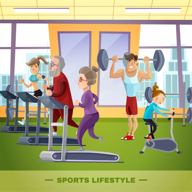 Modelo plano de família de esportes Vetor grátis