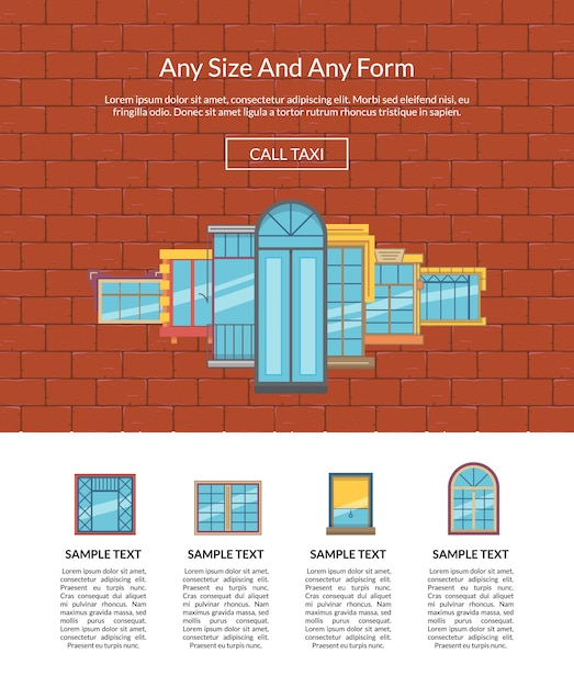 Modelo plano de janela de vetor na parede de tijolo Vetor Premium